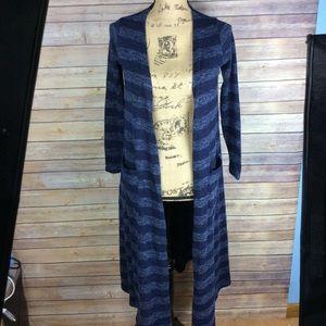 LuLaRoe Size XS Blue Striped Sarah Cardigan Duster